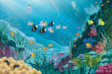cartoon submarine: Underwater landscape with various water plants and swimming tropical fishes  All objects are grouped  Illustration