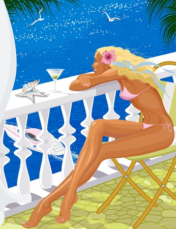 Beautiful blond young woman sitting on a balcony of a hotel s room and looking at the sea Vector