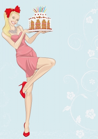 Beautiful smiling blonde woman holding cake with lit candles