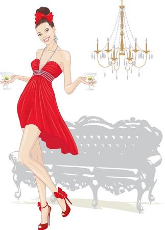 abito elegante: Bella ragazza in piedi vestita di rosso con bicchieri di martini e sagome di divano e lampadario in background su bianco Vettoriali