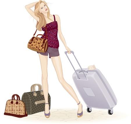 흰색 배경 위에 가방 및 여행 가방과 함께 서있는 아름 다운 젊은 여자