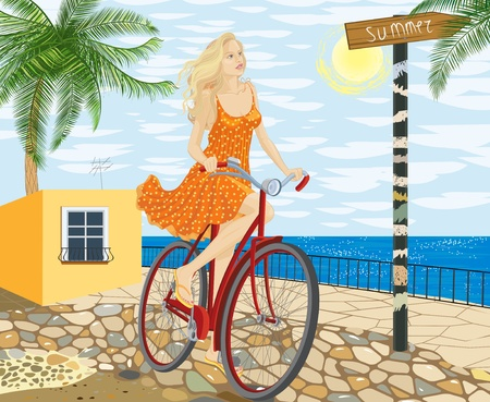 one wheel bike: Young woman on a bicycle Illustration