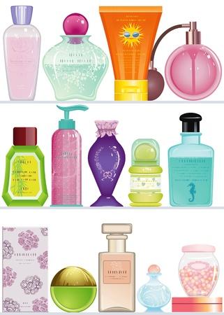 fragrance: Planken met cosmetica flessen en containers voor geïsoleerde schoonheidsverzorging op een witte achtergrond Elk object is gegroepeerd