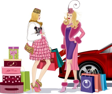 Two nicely dressed young women standing and talking in an environment bags after successful shopping near red car  One of the girls holding a small dog in her right hand  Vector