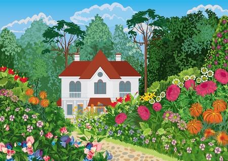Het huis wordt omringd door een weelderige bloeiende tuin. Alle objecten worden gegroepeerd.