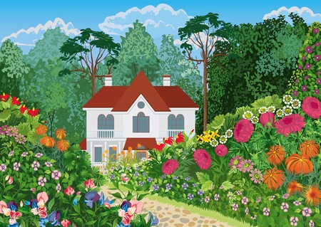 home garden: The house surrounded by lush blossoming garden. All objects are grouped. Illustration