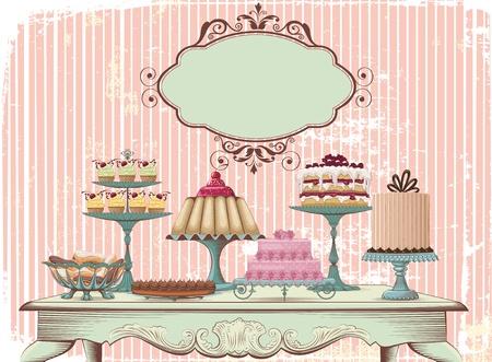 Old-fashioned table est dressée avec des gâteaux différents Tous les objets sont regroupés et séparés de couches