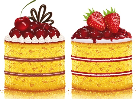 Illustration of a cherry cake and a strawberry cake on white background  All objects are grouped  EPS 8
