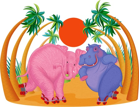 Cute hippo and elephant riding on roller skates  All objects are grouped and separated to layers  Vector