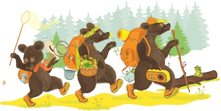 Family of bears traveling on forest  Isolated over white background  All objects are grouped  Illustration