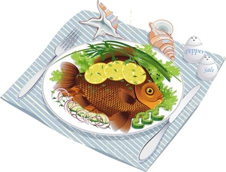 Illustratie van visvoer met groenten en citroen op een bord en schelpen dichtbij