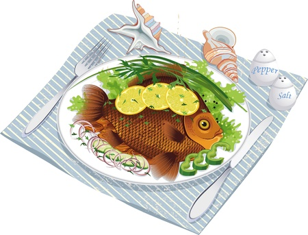 Illustration of fish food with vegetables and lemon on a plate and sea shells near by