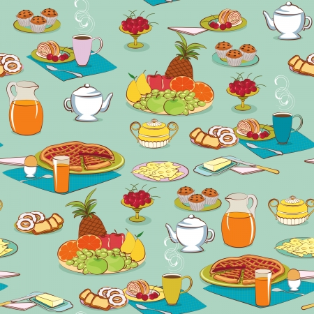 Background with food for breakfast Vector