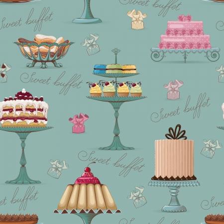 Naadloos patroon met verschillende taarten
