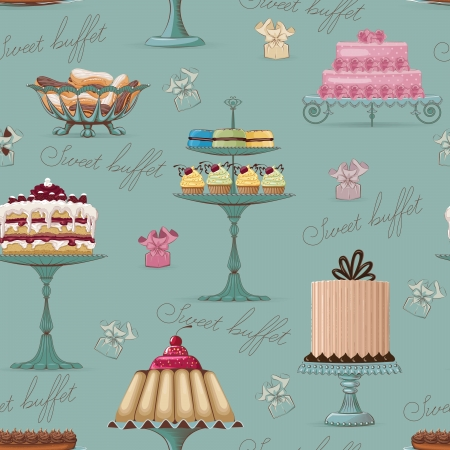 Seamless pattern with different cakes Vector