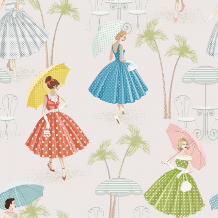 Background with women dressed in polka dots garments walking with parasols Illustration