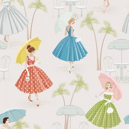 reise retro: Hintergrund mit Frauen in Tupfen Gewändern zu Fuß mit Sonnenschirmen Illustration