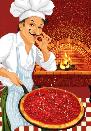 Pizza Chef with just cooked hot pepperoni pizza Vector