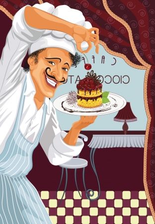 Chef of a restaurant holding a plate with cherry cake Vector