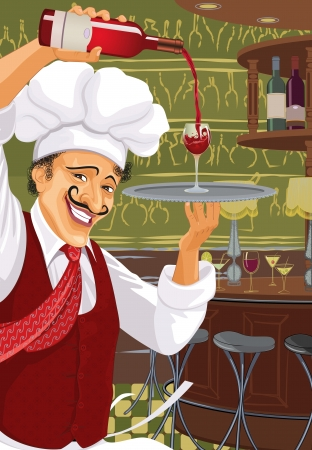 bar counter: Chef of a bar and restaurant pours wine into the glass which he carries on a tray Illustration