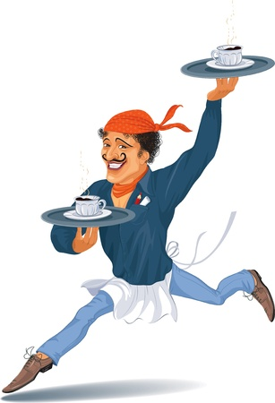 hurrying: Waiter holding a trays with coffee hurrying to fulfill an order  Illustration