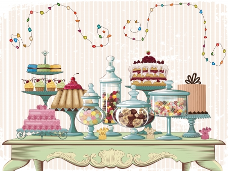 pastries: Different cakes and glass jars with candies set on the old-fashioned table  All objects are grouped and separated to layers