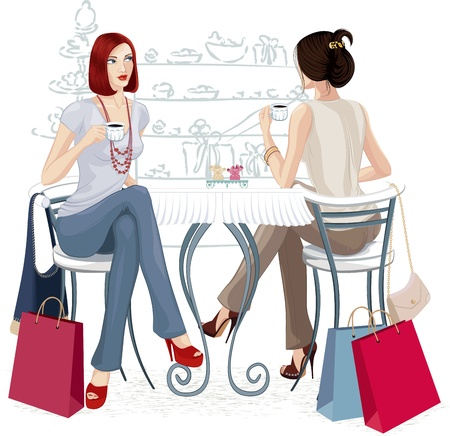 Two young women sitting with cups of coffee at the table. Isolated over white background. All objects are grouped. Vector