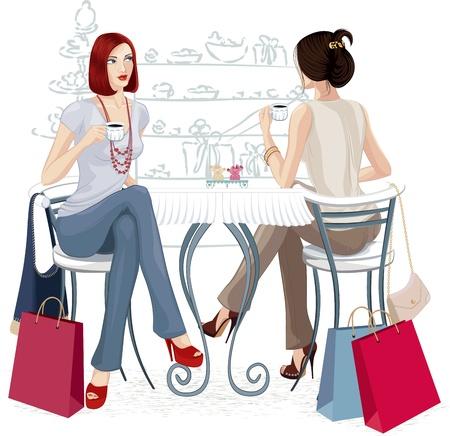 Zwei junge Frauen sitzen mit Tassen Kaffee am Tisch. Isolierte über weißem Hintergrund. Alle Objekte werden gruppiert. Standard-Bild - 14151791