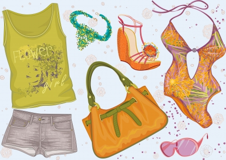 retail sales: Collection of women s summer clothing Illustration