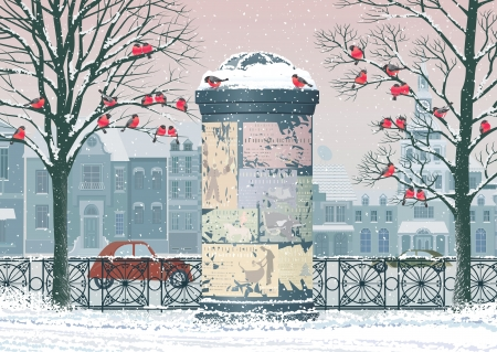 Winter cityscape with old advertising column, flocks of bullfinches perching on the trees and the houses on the background Illustration