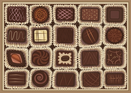 packing boxes: illustration of chocolate assortment in a box