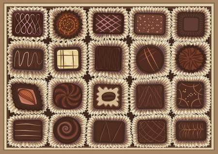 cafe bombon: ilustración de la variedad de chocolate en una caja Vectores