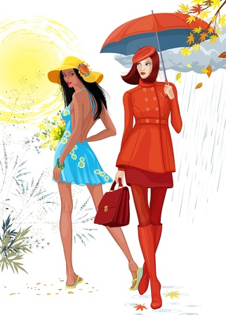 Illustration of two beautiful girls. Brunette girl in a blue dress images the summer time, and the girl in a red clothes with an umbrella images the autumn. Each girl is on a separate layer. Çizim