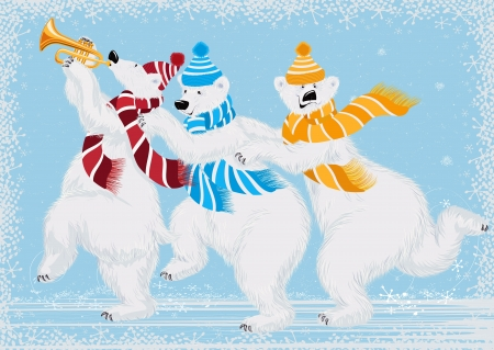 illustration of three funny polar bears in scarves Illustration