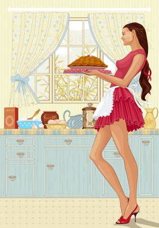 freshly: Beautiful young woman holding a tray of freshly baked cake in the kitchen Illustration