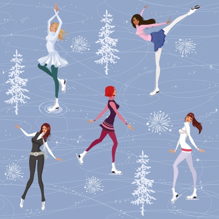 winter sport: Seamless pattern with pretty girls skating on ice