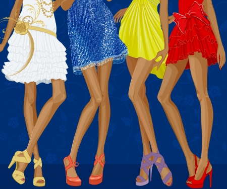 Long legs of four chic girls dressed in evening gowns and shoes on stiletto heels over a blue floral background  Vector