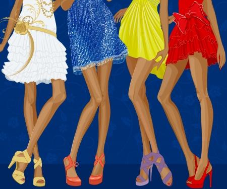Piernas largas de cuatro muchachas elegantes vestidos con trajes de noche y zapatos de tacones de aguja sobre un fondo floral azul Ilustración de vector