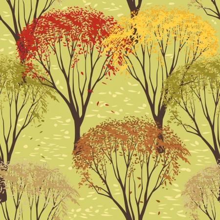 Nahtlose Muster mit Bäumen im Herbst Standard-Bild - 14711721