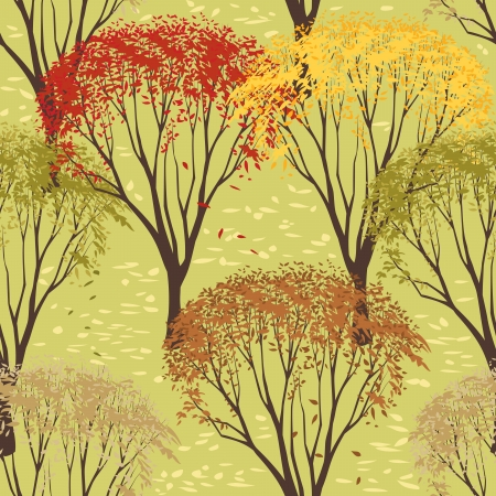 Seamless pattern with trees in autumn season Vector
