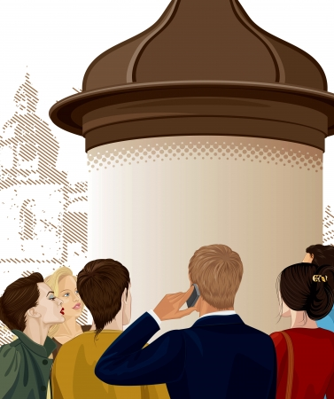 advertising column: Group of people too much interested by an announcement on an advertising column Illustration