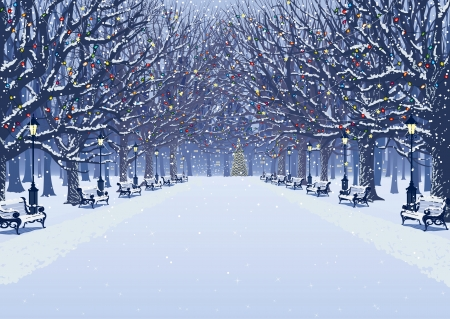 Avenue of trees, street lamps and benches in a snow covered park Vector