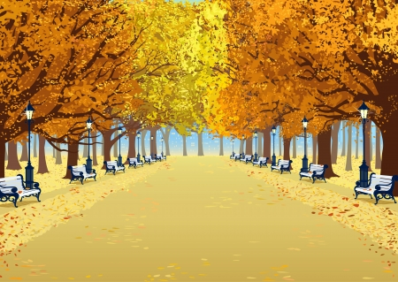 Alley in autumn park between the trees with lush foliage Illustration