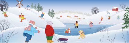 Children having fun sledding ice skating and skiing in the winter on the rural landscape background. All objects are grouped. Illustration