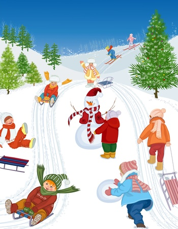 Group of cheerful children sledding and skiing. All objects are grouped. Illustration