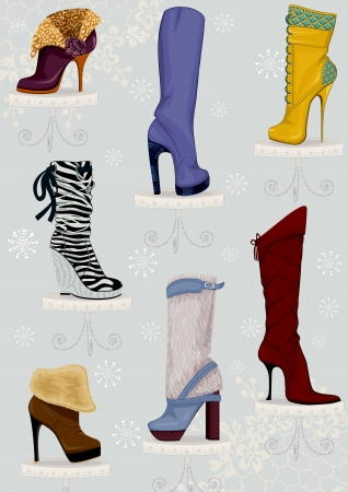 Collection of female boots on high heels standing on pedestals over blue background with snowflakes Vector