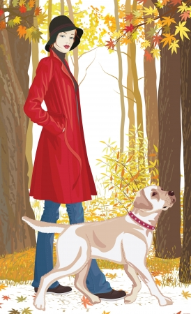 labrador retriever: Illustration of a woman with a dog walking in the park in autumn over white background