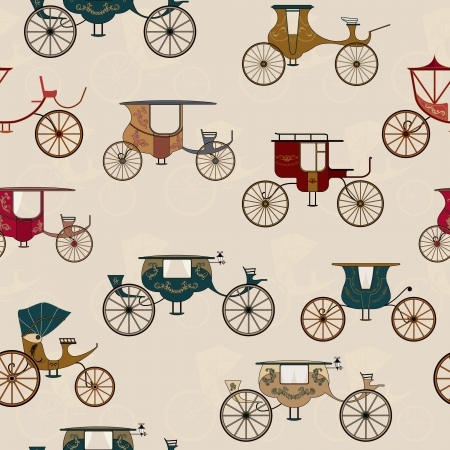 cartwheel: Seamless pattern with various antique carriages