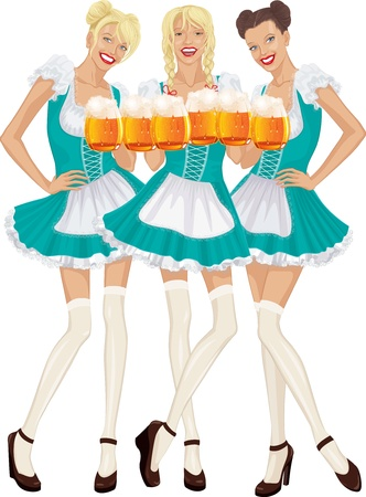 Three beautiful women in traditional Bavarian clothes with mugs of beer isolated over white background