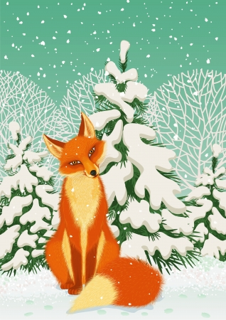 Sitting red fox in the winter forest Vector